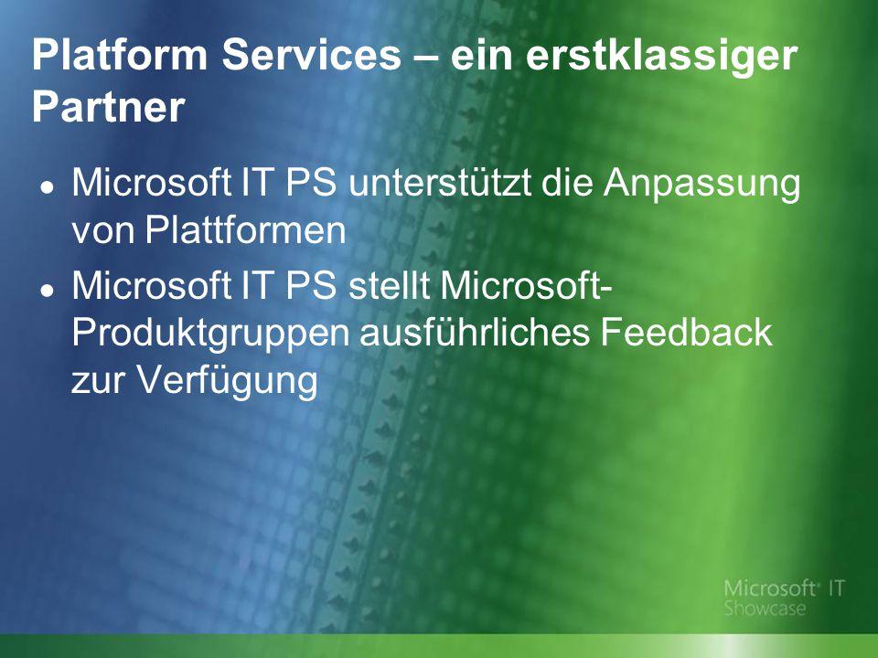 Platform Services – ein erstklassiger Partner ● Microsoft IT PS unterstützt die Anpassung von Plattformen ● Microsoft IT PS stellt Microsoft- Produktgruppen ausführliches Feedback zur Verfügung