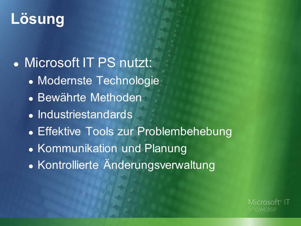 Lösung ● Microsoft IT PS nutzt: ● Modernste Technologie ● Bewährte Methoden ● Industriestandards ● Effektive Tools zur Problembehebung ● Kommunikation