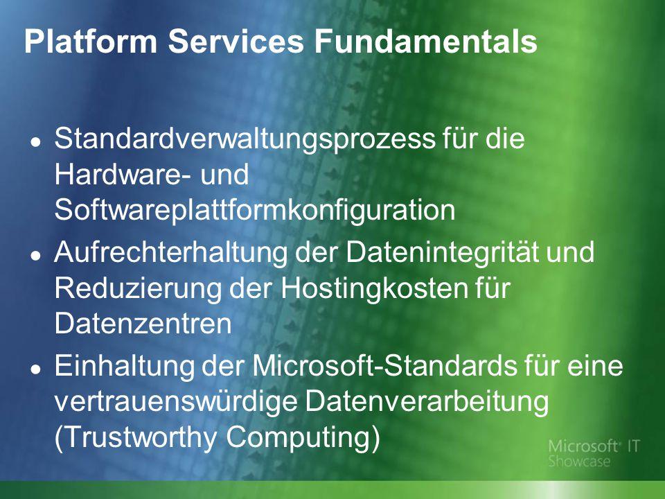 Platform Services Fundamentals ● Standardverwaltungsprozess für die Hardware- und Softwareplattformkonfiguration ● Aufrechterhaltung der Datenintegrität und Reduzierung der Hostingkosten für Datenzentren ● Einhaltung der Microsoft-Standards für eine vertrauenswürdige Datenverarbeitung (Trustworthy Computing)