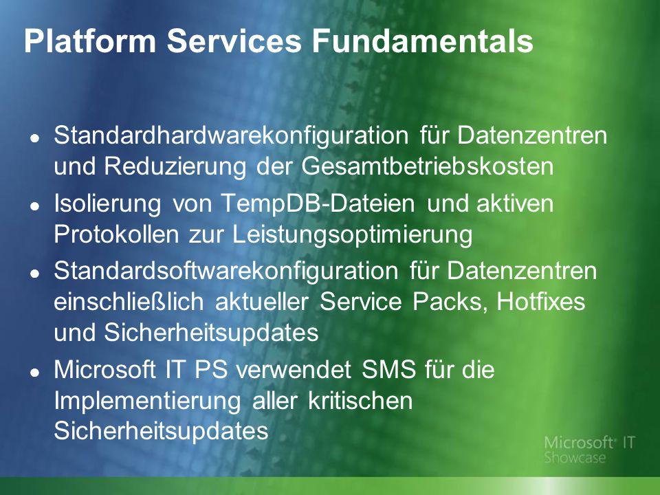Platform Services Fundamentals ● Standardhardwarekonfiguration für Datenzentren und Reduzierung der Gesamtbetriebskosten ● Isolierung von TempDB-Datei
