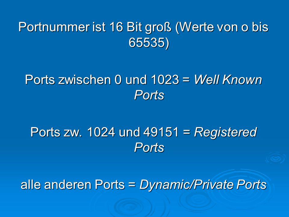 Portnummer ist 16 Bit groß (Werte von o bis 65535) Ports zwischen 0 und 1023 = Well Known Ports Ports zw.