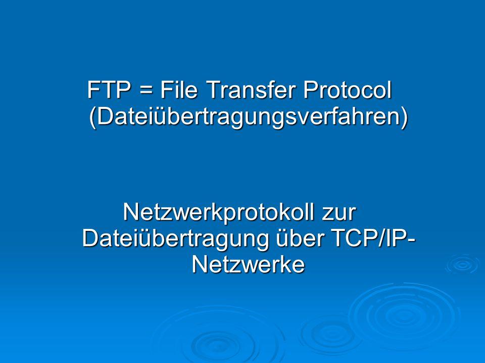 Verwendung:  Dateiübertragung zwischen Server und Client, vom Client zum Server oder zwischen zwei Servern  Es benutzt zwei Verbindungen : Port 20 und 21