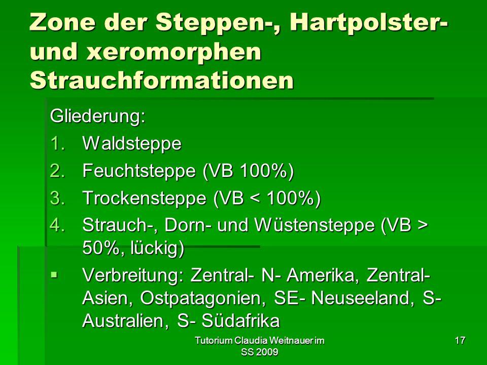 Tutorium Claudia Weitnauer im SS 2009 17 Zone der Steppen-, Hartpolster- und xeromorphen Strauchformationen Gliederung: 1.Waldsteppe 2.Feuchtsteppe (VB 100%) 3.Trockensteppe (VB < 100%) 4.Strauch-, Dorn- und Wüstensteppe (VB > 50%, lückig)  Verbreitung: Zentral- N- Amerika, Zentral- Asien, Ostpatagonien, SE- Neuseeland, S- Australien, S- Südafrika
