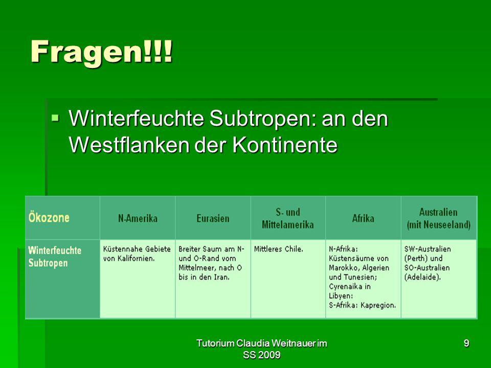 Tutorium Claudia Weitnauer im SS 2009 9 Fragen!!.