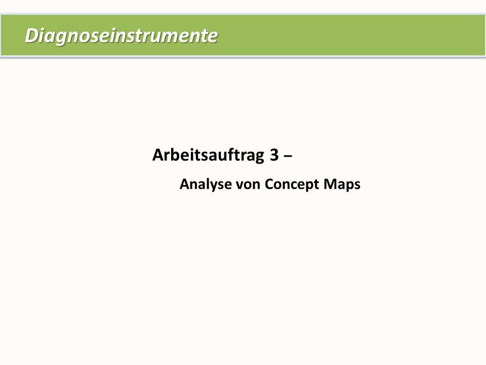 Arbeitsauftrag 3 – Analyse von Concept Maps Diagnoseinstrumente Diagnoseinstrumente