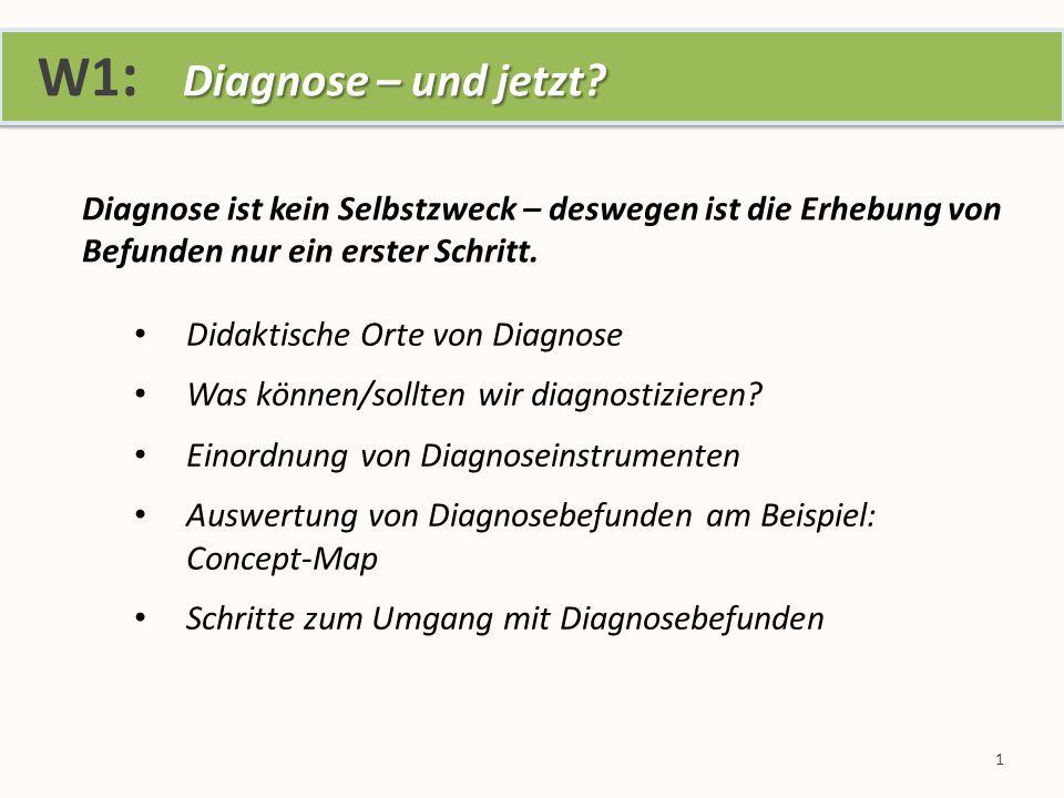 Diagnose – und jetzt. W1 : Diagnose – und jetzt.