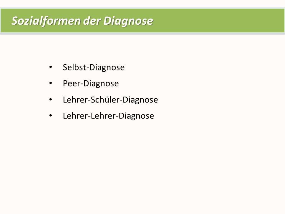 Selbst-Diagnose Peer-Diagnose Lehrer-Schüler-Diagnose Lehrer-Lehrer-Diagnose Sozialformen der Diagnose Sozialformen der Diagnose