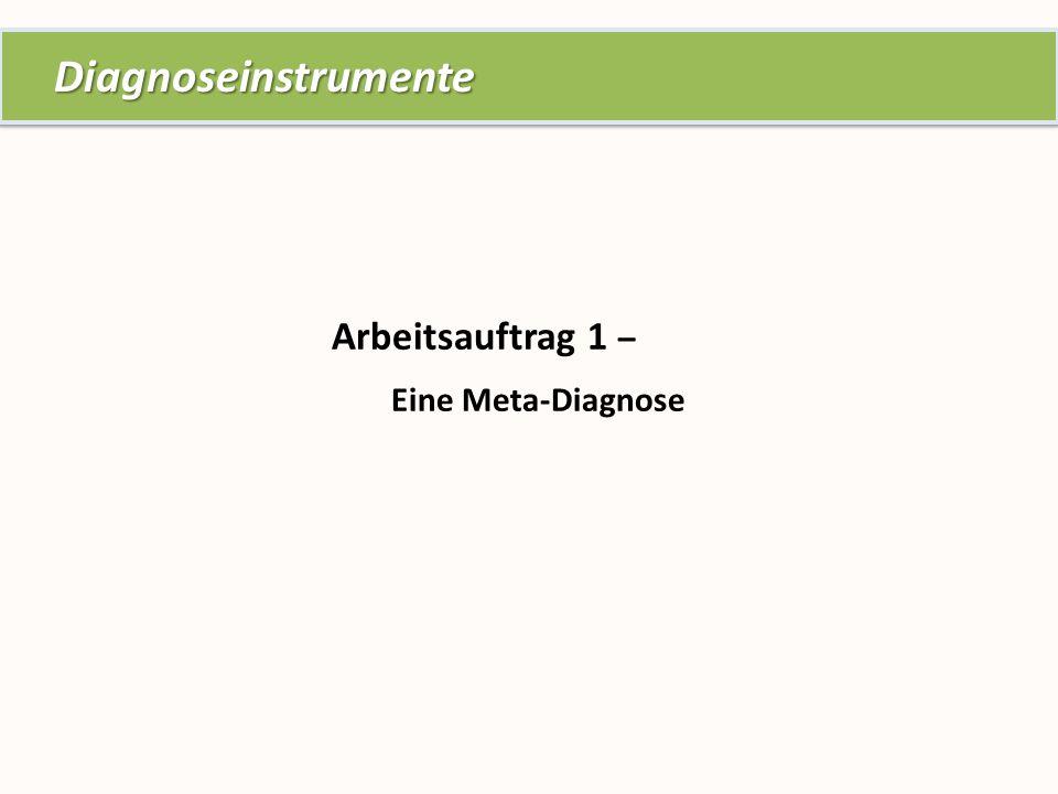 Arbeitsauftrag 1 – Eine Meta-Diagnose Diagnoseinstrumente Diagnoseinstrumente