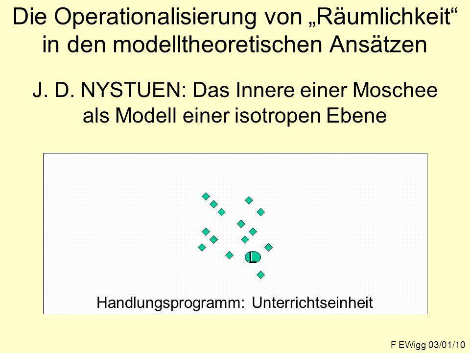 """Die Operationalisierung von """"Räumlichkeit in den modelltheoretischen Ansätzen F EWigg 03/01/10 J."""