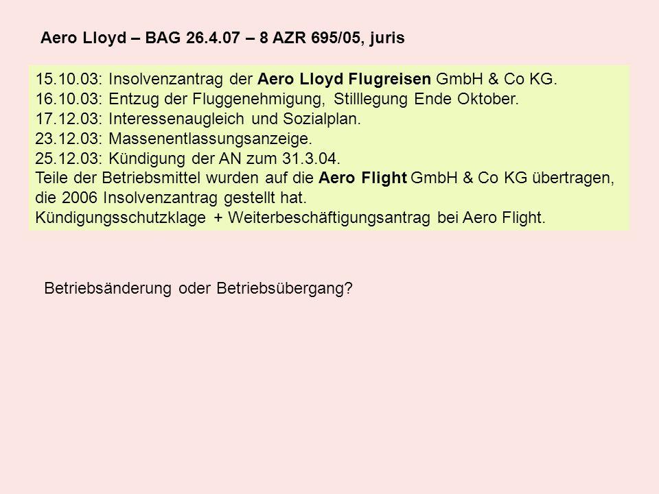 15.10.03: Insolvenzantrag der Aero Lloyd Flugreisen GmbH & Co KG. 16.10.03: Entzug der Fluggenehmigung, Stilllegung Ende Oktober. 17.12.03: Interessen