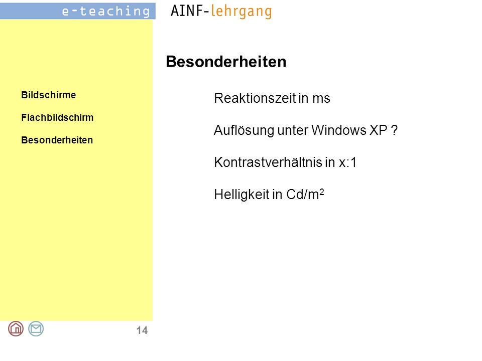 14 Bildschirme Flachbildschirm Besonderheiten Reaktionszeit in ms Auflösung unter Windows XP .