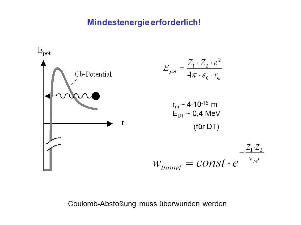 r m ~ 4·10 -15 m E DT ~ 0,4 MeV (für DT) Mindestenergie erforderlich! Coulomb-Abstoßung muss überwunden werden