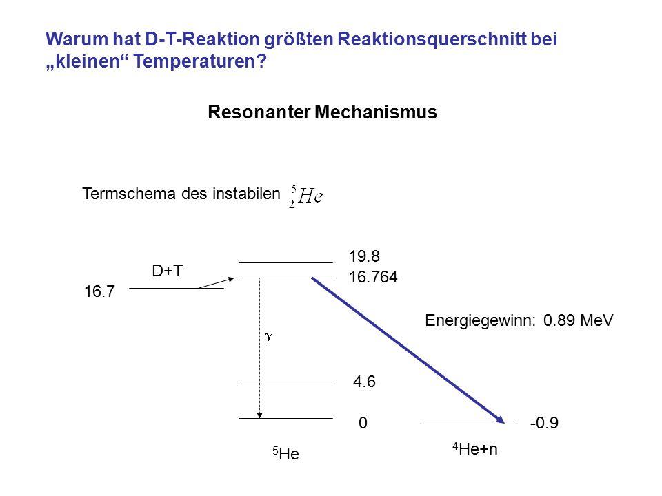 "Warum hat D-T-Reaktion größten Reaktionsquerschnitt bei ""kleinen"" Temperaturen? Termschema des instabilen 5 He D+T -0.90 4.6 16.764 19.8 16.7  Resona"