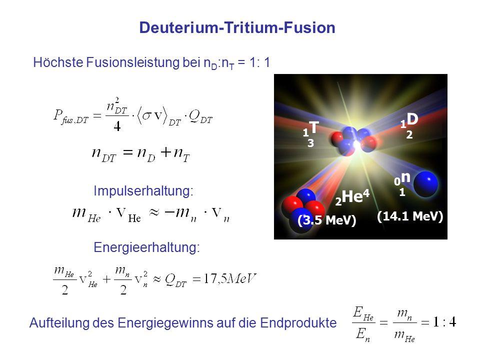 1T31T3 1D21D2 0n10n1 (3.5 MeV) 2 He 4 (14.1 MeV) Deuterium-Tritium-Fusion Impulserhaltung: Energieerhaltung: Aufteilung des Energiegewinns auf die End