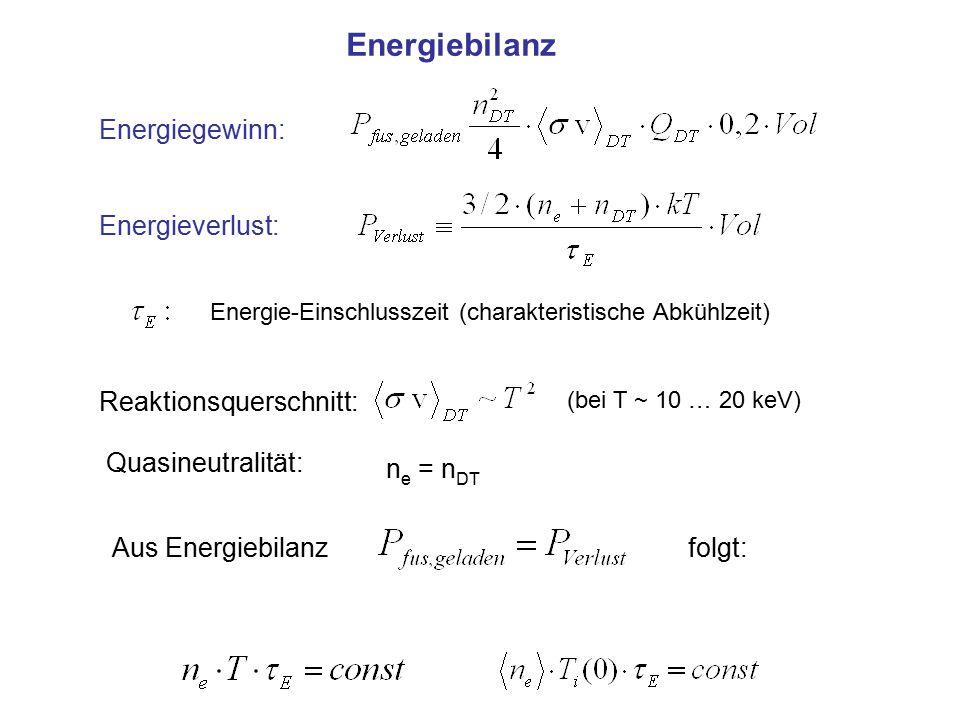 Energiebilanz Energiegewinn: Energieverlust: Energie-Einschlusszeit (charakteristische Abkühlzeit) (bei T ~ 10 … 20 keV) Reaktionsquerschnitt: Quasine