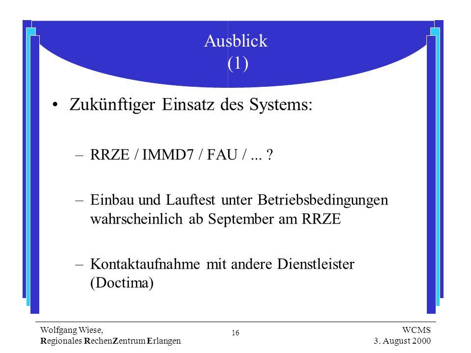 16 Wolfgang Wiese, Regionales RechenZentrum Erlangen WCMS 3.