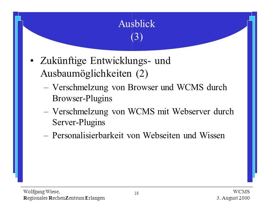 18 Wolfgang Wiese, Regionales RechenZentrum Erlangen WCMS 3.