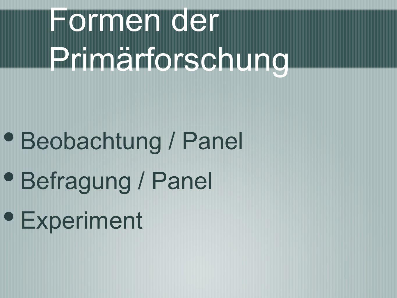 Formen der Primärforschung Beobachtung / Panel Befragung / Panel Experiment