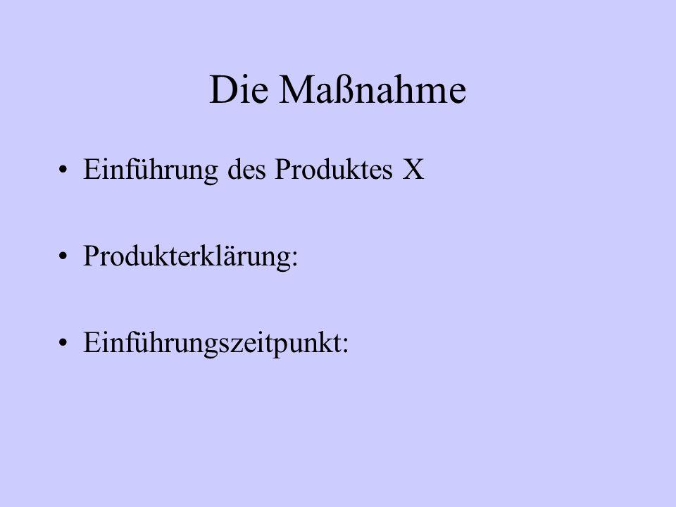 Die Maßnahme Einführung des Produktes X Produkterklärung: Einführungszeitpunkt: