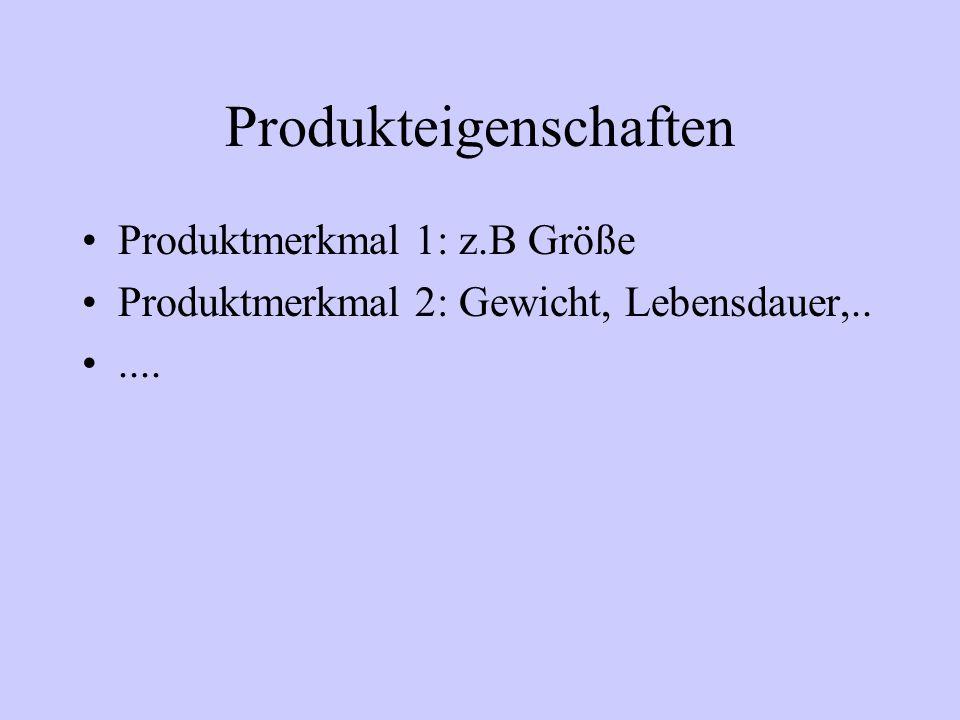 Produkteigenschaften Produktmerkmal 1: z.B Größe Produktmerkmal 2: Gewicht, Lebensdauer,......