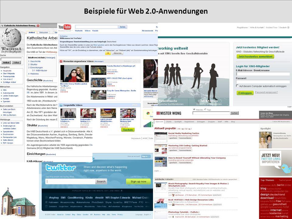 Beispiele für Web 2.0-Anwendungen © Rainer Gelhot 2009