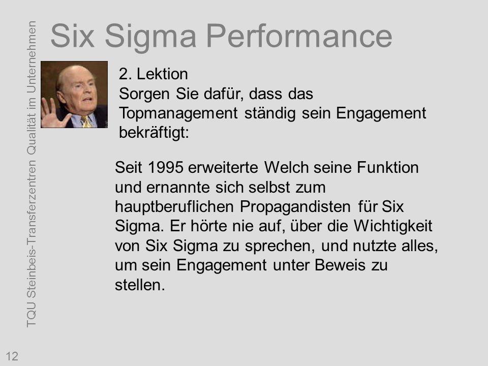 TQU Steinbeis-Transferzentren Qualität im Unternehmen 12 Six Sigma Performance 2. Lektion Sorgen Sie dafür, dass das Topmanagement ständig sein Engage