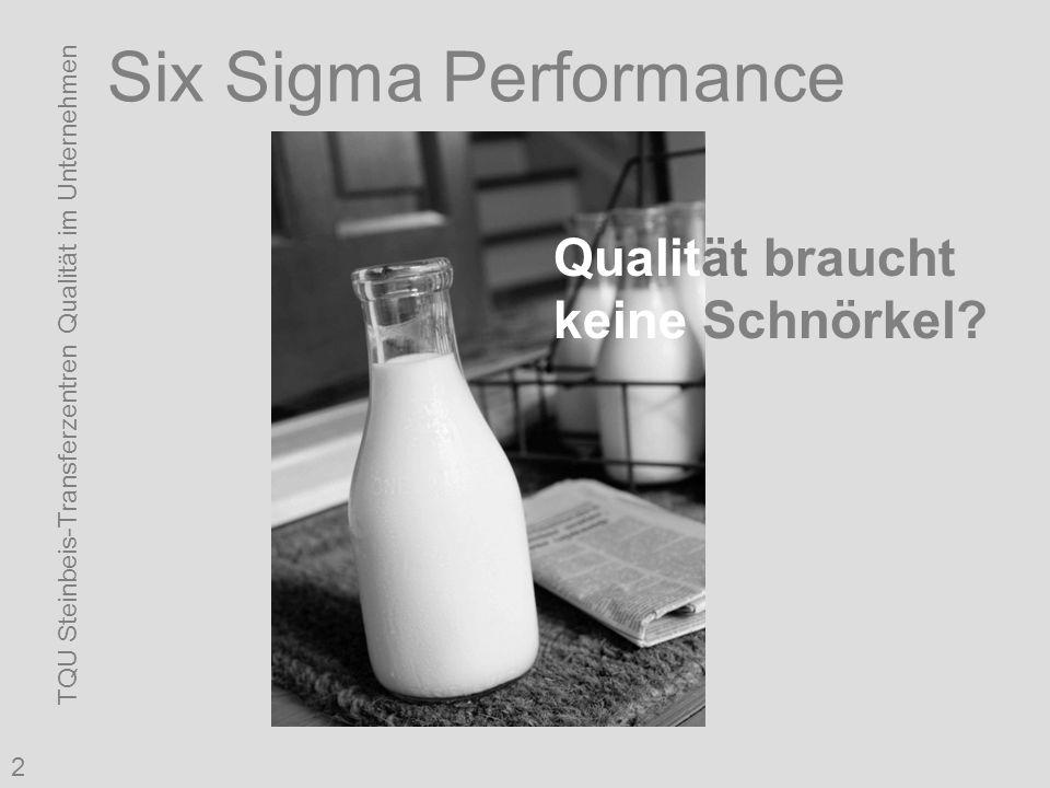 TQU Steinbeis-Transferzentren Qualität im Unternehmen 2 Six Sigma Performance Qualität braucht keine Schnörkel?