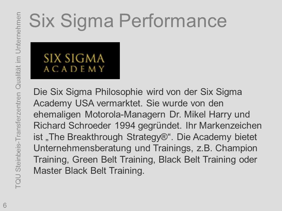 TQU Steinbeis-Transferzentren Qualität im Unternehmen 6 Six Sigma Performance Die Six Sigma Philosophie wird von der Six Sigma Academy USA vermarktet.