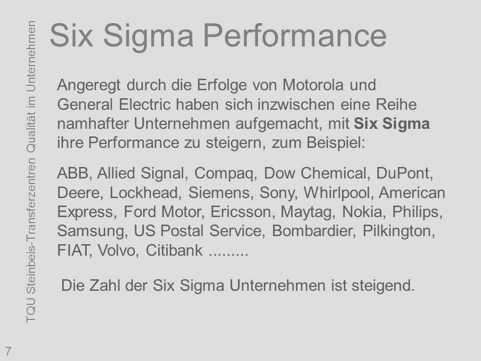 TQU Steinbeis-Transferzentren Qualität im Unternehmen 7 Six Sigma Performance Angeregt durch die Erfolge von Motorola und General Electric haben sich