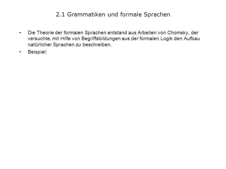 2.1 Grammatiken und formale Sprachen Die Theorie der formalen Sprachen entstand aus Arbeiten von Chomsky, der versuchte, mit Hilfe von Begriffsbildungen aus der formalen Logik den Aufbau nat ü rlicher Sprachen zu beschreiben.