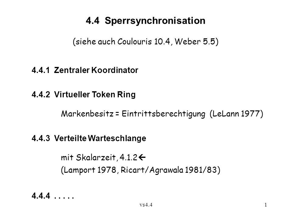 vs4.41 4.4 Sperrsynchronisation (siehe auch Coulouris 10.4, Weber 5.5) 4.4.1 Zentraler Koordinator 4.4.2 Virtueller Token Ring Markenbesitz = Eintritt