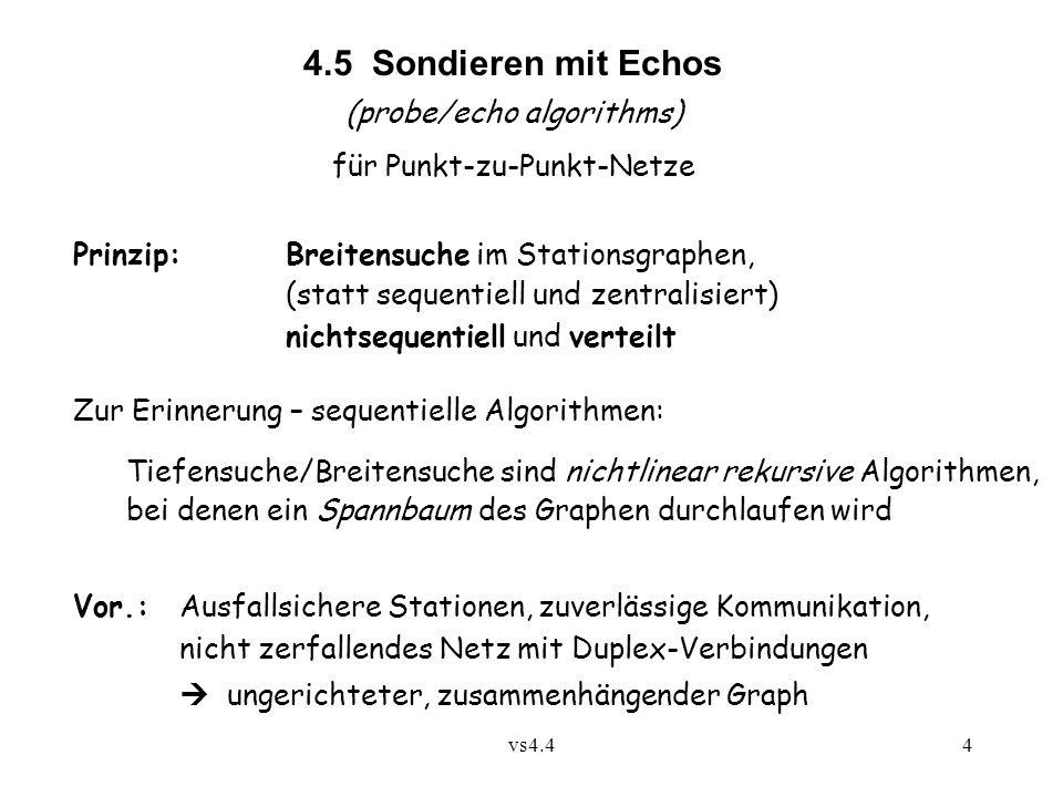 vs4.44 4.5 Sondieren mit Echos (probe/echo algorithms) für Punkt-zu-Punkt-Netze Prinzip:Breitensuche im Stationsgraphen, (statt sequentiell und zentra