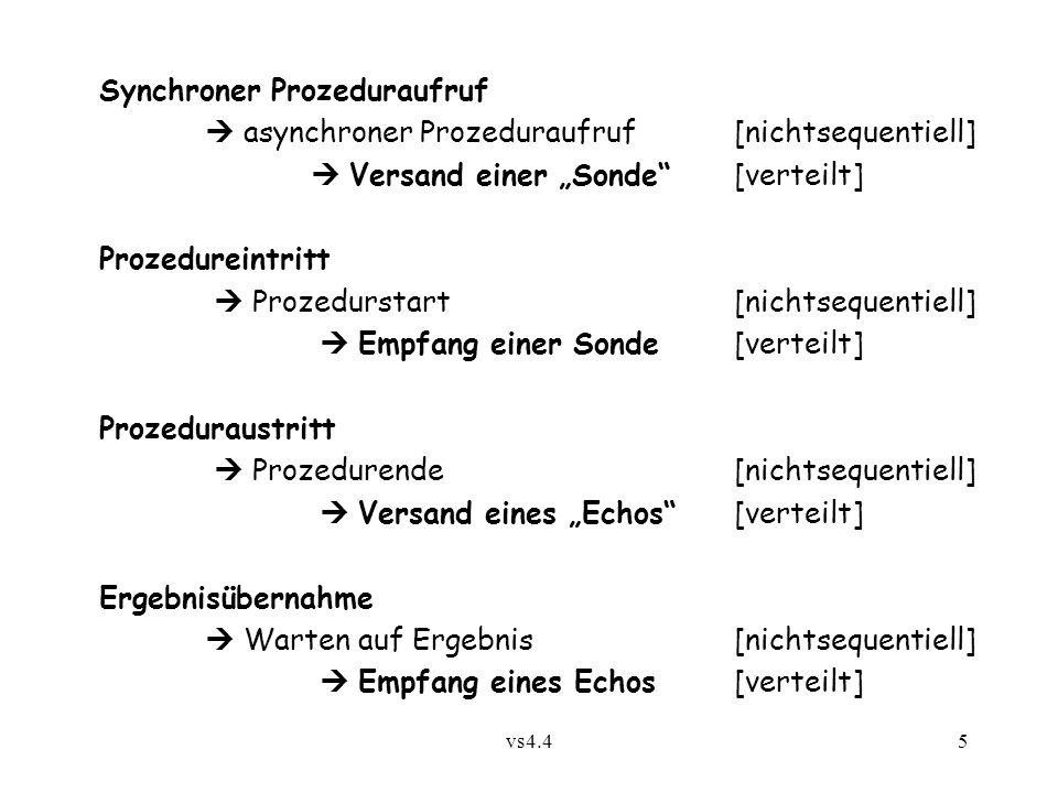 """vs4.45 Synchroner Prozeduraufruf  asynchroner Prozeduraufruf [nichtsequentiell]  Versand einer """"Sonde""""[verteilt] Prozedureintritt  Prozedurstart[ni"""