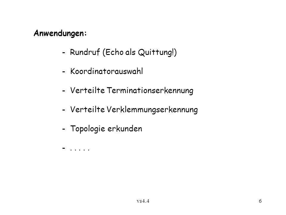 vs4.46 Anwendungen: - Rundruf (Echo als Quittung!) - Koordinatorauswahl - Verteilte Terminationserkennung - Verteilte Verklemmungserkennung - Topologi