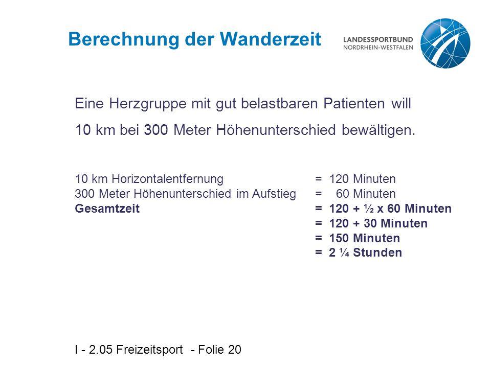 I - 2.05 Freizeitsport - Folie 20 Berechnung der Wanderzeit Eine Herzgruppe mit gut belastbaren Patienten will 10 km bei 300 Meter Höhenunterschied be
