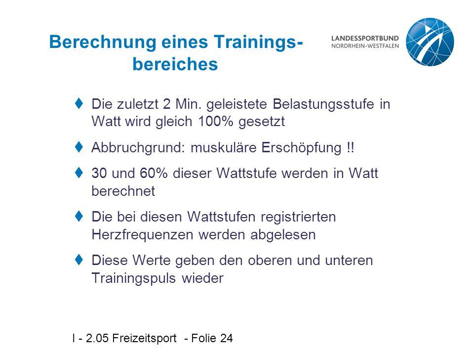 I - 2.05 Freizeitsport - Folie 24 Berechnung eines Trainings- bereiches  Die zuletzt 2 Min. geleistete Belastungsstufe in Watt wird gleich 100% geset
