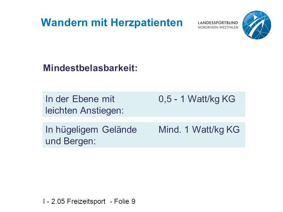I - 2.05 Freizeitsport - Folie 9 Wandern mit Herzpatienten In der Ebene mit leichten Anstiegen: Mindestbelasbarkeit: 0,5 - 1 Watt/kg KG In hügeligem G