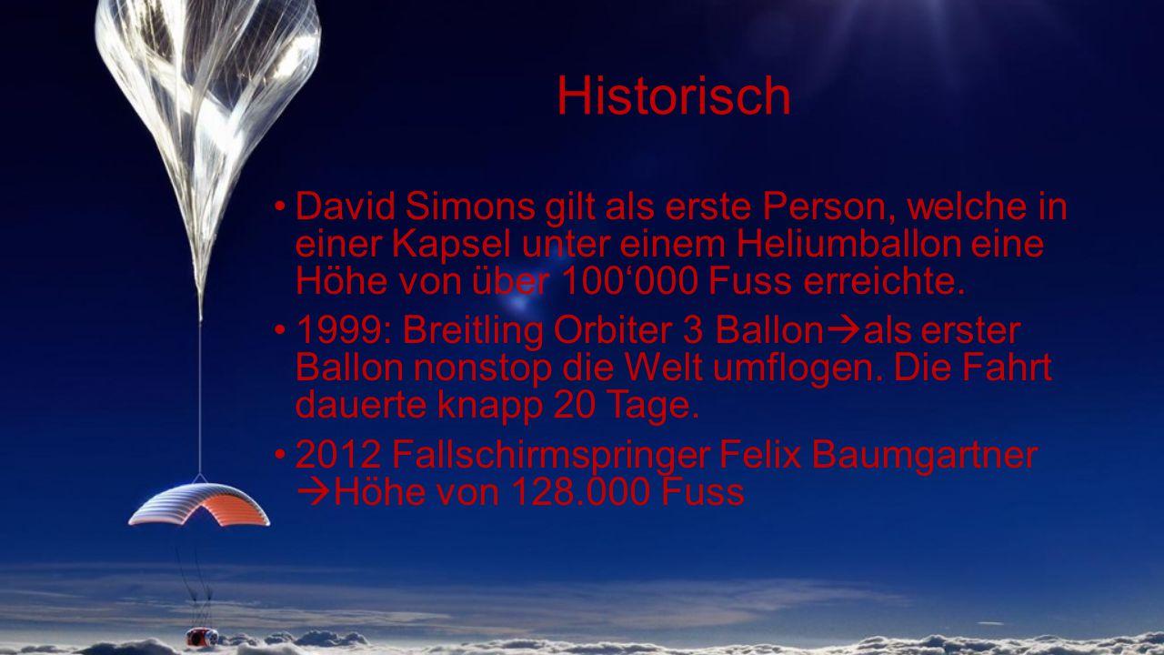 Historisch David Simons gilt als erste Person, welche in einer Kapsel unter einem Heliumballon eine Höhe von über 100'000 Fuss erreichte.