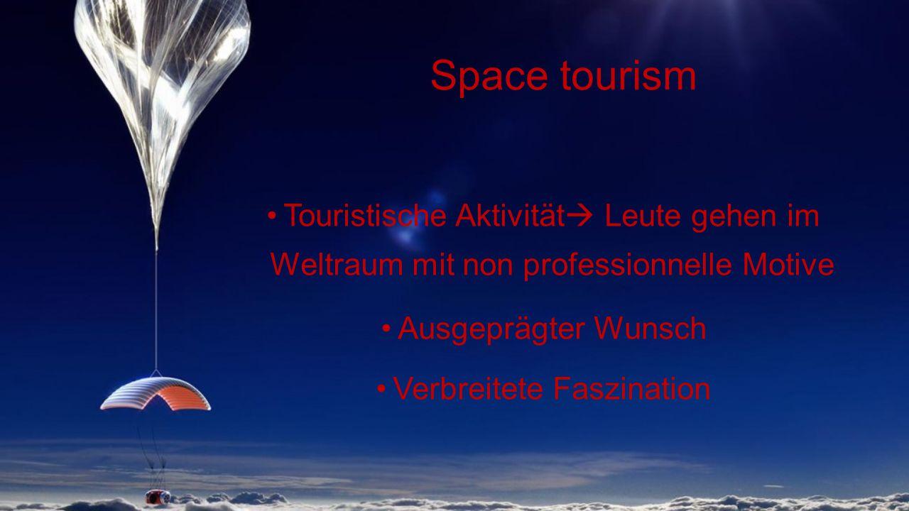 Space tourism Touristische Aktivität  Leute gehen im Weltraum mit non professionnelle Motive Ausgeprägter Wunsch Verbreitete Faszination