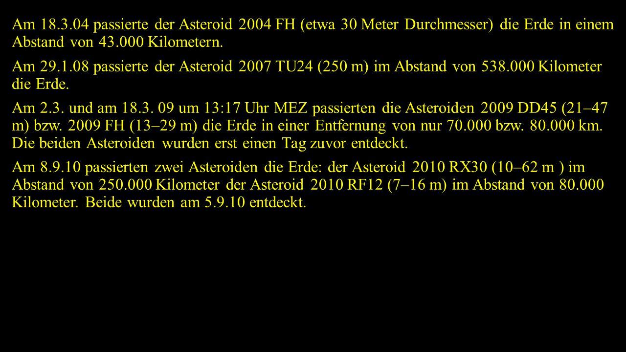 Am 18.3.04 passierte der Asteroid 2004 FH (etwa 30 Meter Durchmesser) die Erde in einem Abstand von 43.000 Kilometern. Am 29.1.08 passierte der Astero