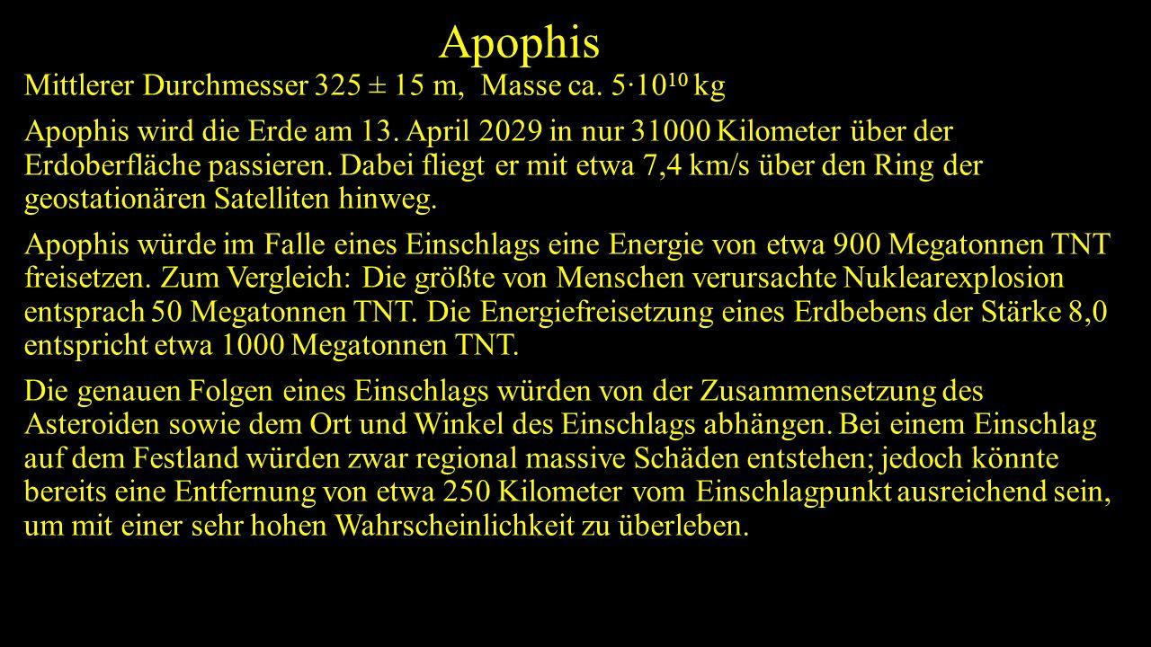Apophis Mittlerer Durchmesser 325 ± 15 m, Masse ca. 5·10 10 kg Apophis wird die Erde am 13. April 2029 in nur 31000 Kilometer über der Erdoberfläche p