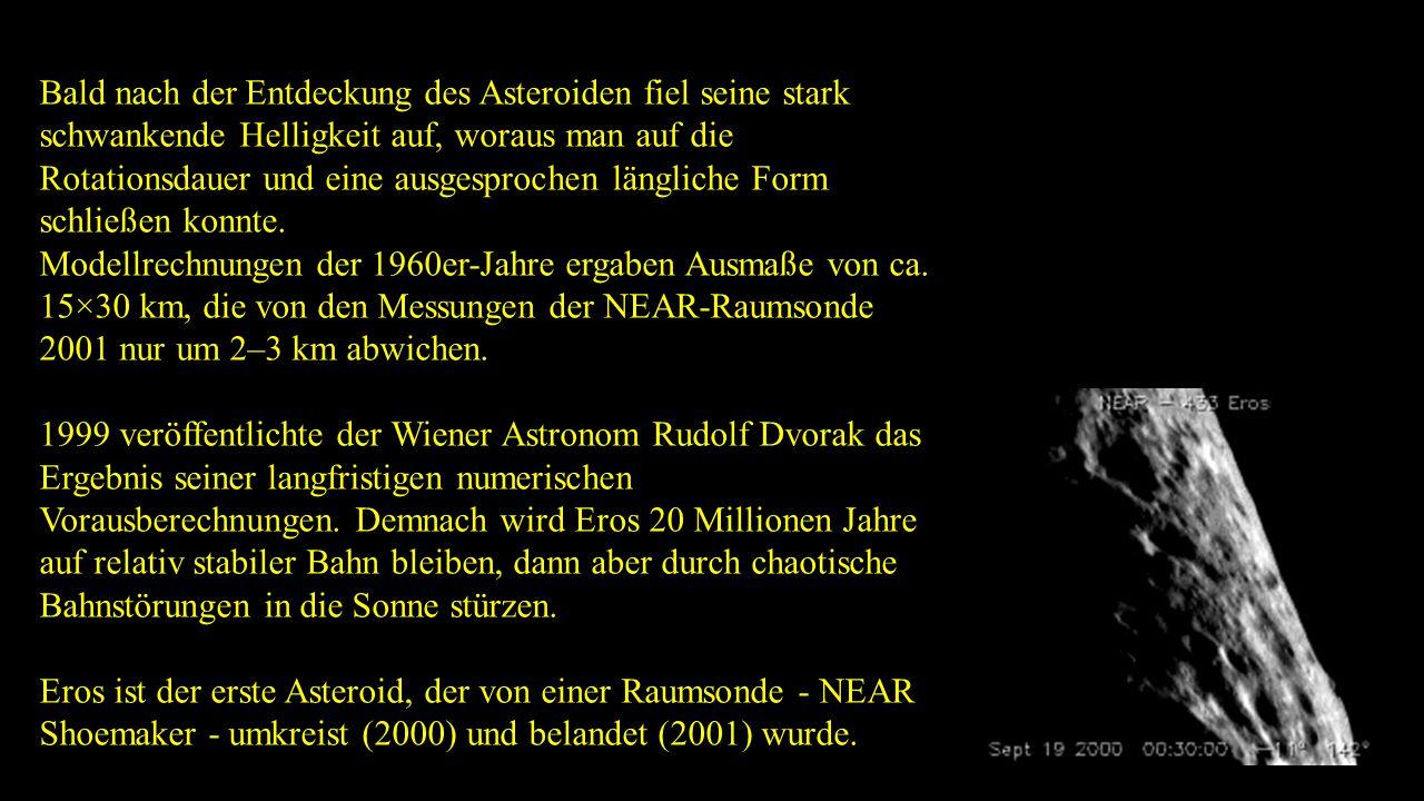 Bald nach der Entdeckung des Asteroiden fiel seine stark schwankende Helligkeit auf, woraus man auf die Rotationsdauer und eine ausgesprochen länglich