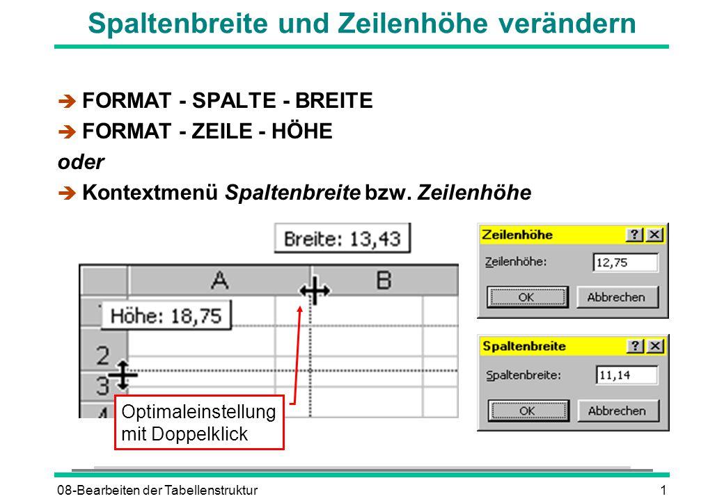 08-Bearbeiten der Tabellenstruktur1 Spaltenbreite und Zeilenhöhe verändern è FORMAT - SPALTE - BREITE è FORMAT - ZEILE - HÖHE oder è Kontextmenü Spalt
