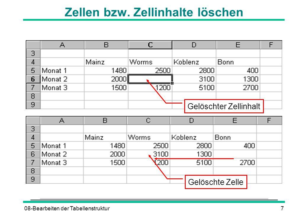 08-Bearbeiten der Tabellenstruktur7 Zellen bzw. Zellinhalte löschen Gelöschte Zelle Gelöschter Zellinhalt