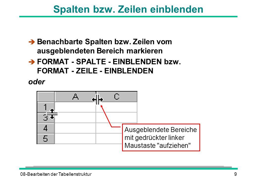 08-Bearbeiten der Tabellenstruktur9 Spalten bzw. Zeilen einblenden è Benachbarte Spalten bzw. Zeilen vom ausgeblendeten Bereich markieren è FORMAT - S