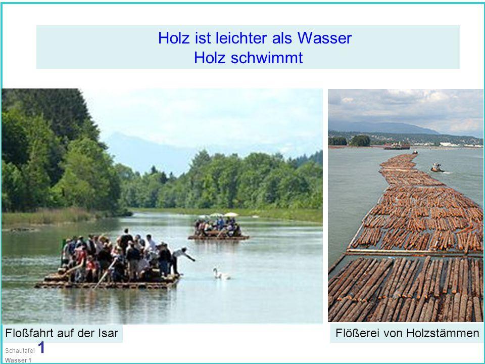 Holz ist leichter als Wasser Holz schwimmt Floßfahrt auf der IsarFlößerei von Holzstämmen Schautafel 1 Wasser 1