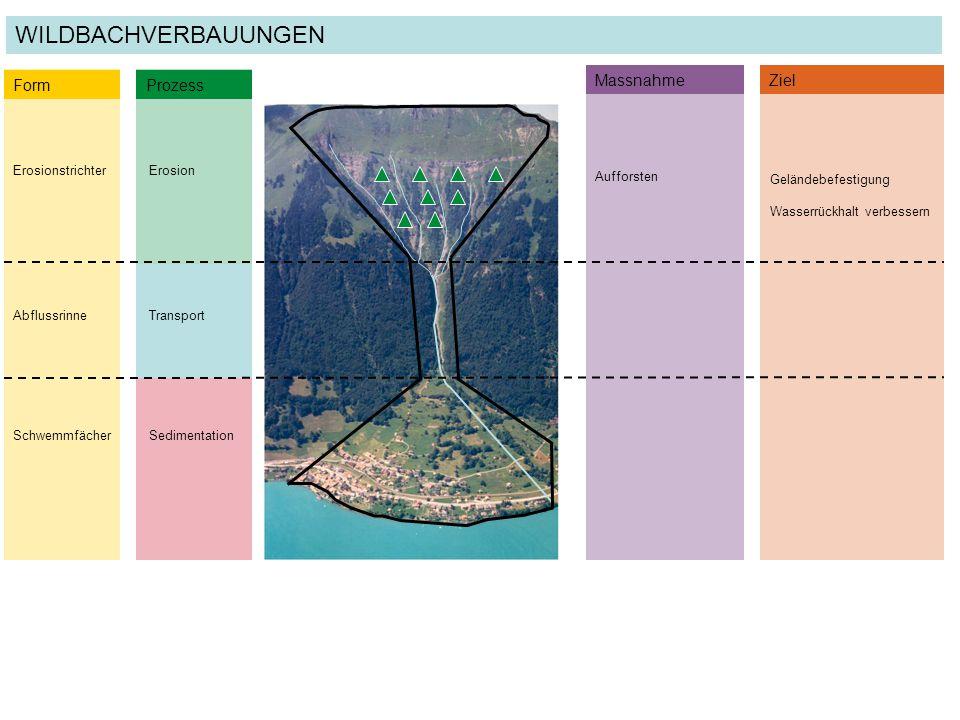 Geländebefestigung Wasserrückhalt verbessern ErosionstrichterErosion Form Prozess AbflussrinneTransport SchwemmfächerSedimentation MassnahmeZiel Auffo