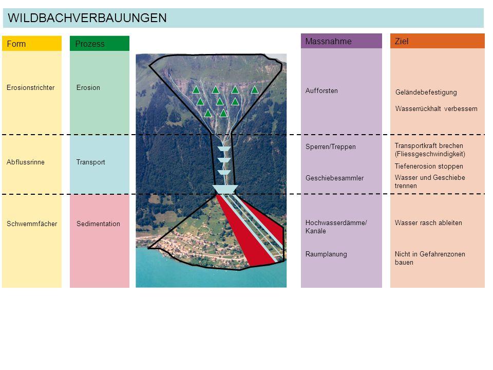 ErosionstrichterErosion Form Prozess AbflussrinneTransport SchwemmfächerSedimentation MassnahmeZiel Aufforsten Geländebefestigung Wasserrückhalt verbe