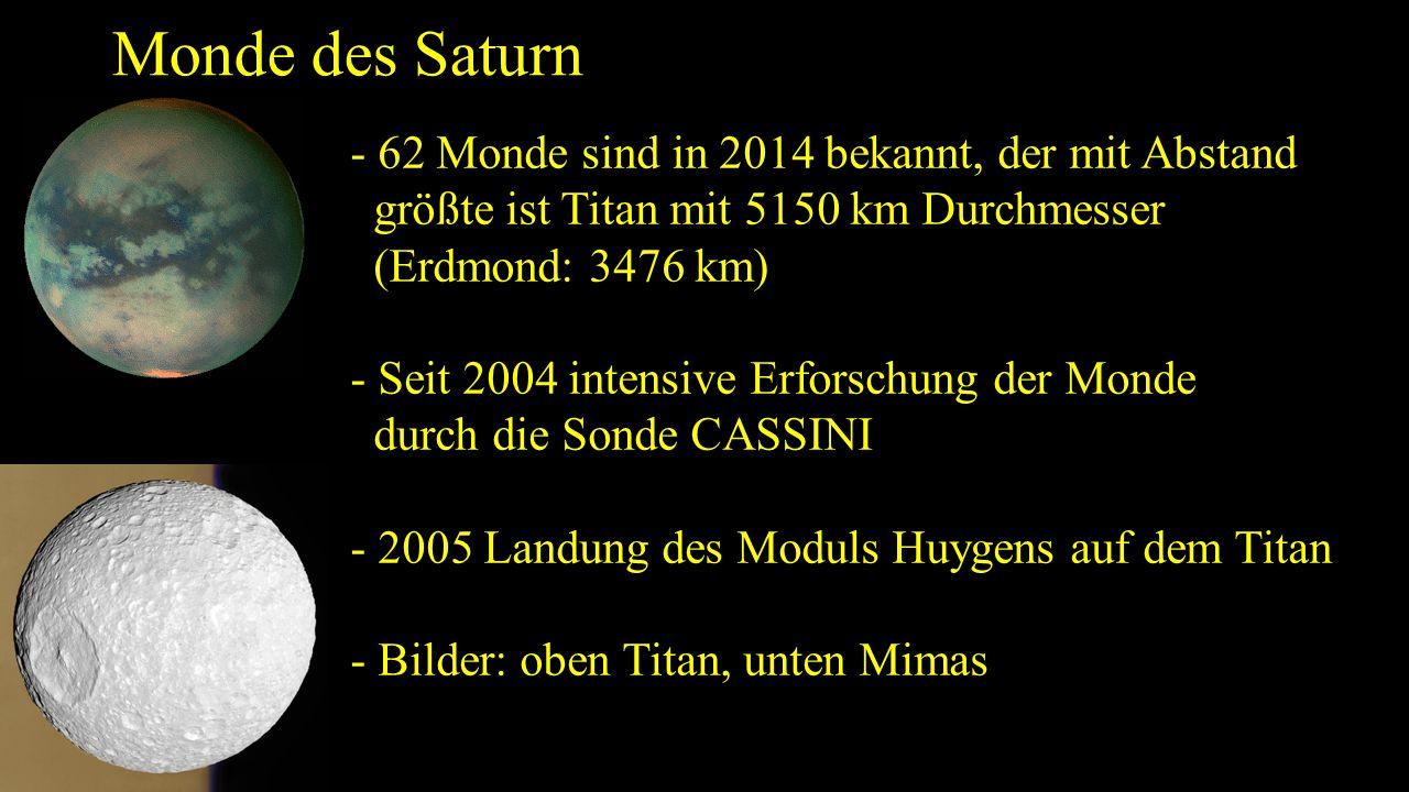 Monde des Saturn - 62 Monde sind in 2014 bekannt, der mit Abstand größte ist Titan mit 5150 km Durchmesser (Erdmond: 3476 km) - Seit 2004 intensive Er