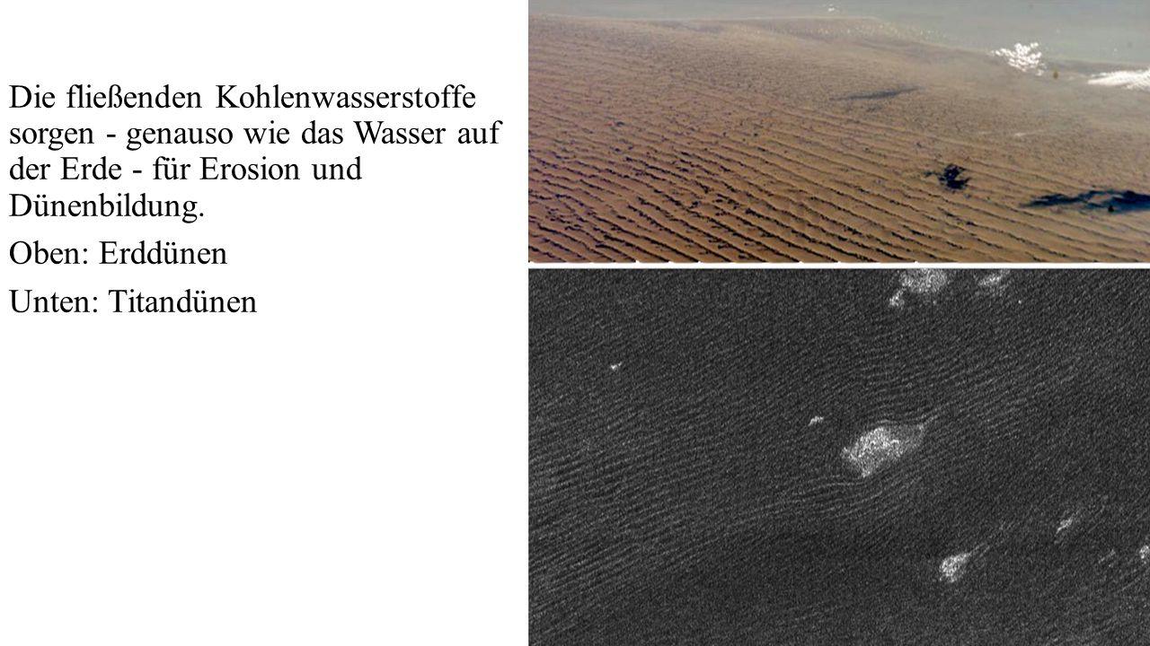 Die fließenden Kohlenwasserstoffe sorgen - genauso wie das Wasser auf der Erde - für Erosion und Dünenbildung. Oben: Erddünen Unten: Titandünen